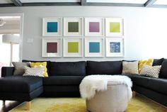 DIY - Cheap Art Idea using IKEA Ribba frames + Craft Paper in Various Shades. Love this idea.
