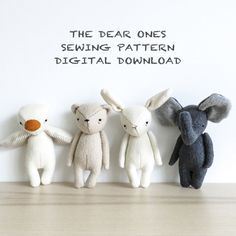 the dear ones are designed for little hands and big hearts... and now you can make your own! this listing includes the digital download pdf patterns to make four different dear one animals - bear, bunny, duck and elephant - at a 20% discount from purchasing the patterns individually!  this digital download includes four PDF files with step-by-step instructions & photos, helpful tips, a materials list, a helpful source guide, and of course my own original patterns (in handy full size…