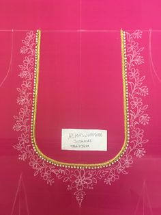 Basic Embroidery Stitches, Hand Embroidery Videos, Flower Embroidery Designs, Creative Embroidery, Simple Blouse Designs, Blouse Neck Designs, Maggam Work Designs, Neckline Designs, Designer Blouse Patterns