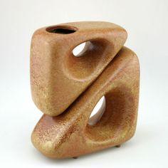 Rare Pottery Vase Sculptural 2 Triangle Brown by Bertoncello 1950s Italy Vintage #MidCenturyModern #Bertoncello