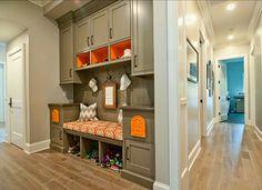 Mudroom. Great Mudroom Design. #Mudroom #Design #Interior Paint Color: Farrow & Ball paint Mouse's Back