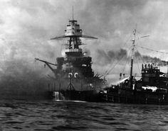 Nevada aground and burning off Waipio Point, after the end of the Japanese air raid. Ships assisting her, at right, are the harbor tug Hoga Remember Pearl Harbor, Uss Arizona Memorial, Imperial Japanese Navy, Pearl Harbor Attack, Air Raid, Battleship, World War Two, Sailing Ships, Military