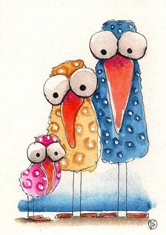 ACEO Original Painting Folk Art Lucia Stewart Whimsical Spring Baby Bird Mum Dad | eBay