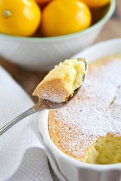 Meyer Lemon Pudding Cake Recipe on twopeasandtheirpod.com This lemon pudding cake is magic and a great dessert for any celebration.