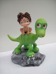 Arte by Luluka: O bom dinossauro em biscuit