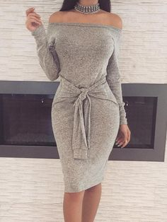 Autum Fashion Off Shoulder Knittted Bodycon Dress