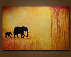 Elephant Mother and Baby Limited Edition Signed Print -- 12 x 18 -- Only 50 Signed Available -- I Will Follow You on Etsy, $35.00