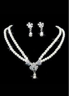 In Stock Glittering Man-made Pearls & Alloy Necklace & Earrings For Your Wedding Dress