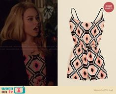 Mariana's neon geometric printed romper on The Fosters.  Outfit Details: http://wornontv.net/34312/ #TheFosters