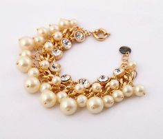 NEW Pearl Cluster Dot Crystal Gold Chain Statement Bracelet Bangle Dress Gift US #JewelStorie #Statement