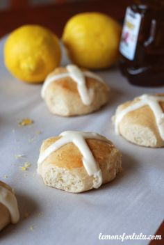Easter doesn't start until you bake some hot cross buns. Lemon Recipes, Baking Recipes, Easter Recipes, Holiday Recipes, Hot Cross Buns, Tasty, Yummy Food, Sweet Bread, Limoncello