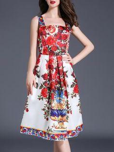 Red Square Neck Spaghetti Floral-print A-line Midi Dress