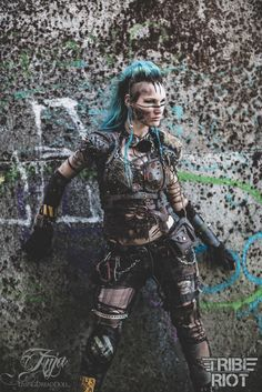 Post Apocalypse TRIBE RIOT LivingDreadDoll #Wasteland #Post #Apocalyptic #apocalypse #Tribal #Warrior #raider #warriors #wanderer #Mad #Max #female #girl #gear #spikes #skull #rust #chain #armor #Anja #Livingdreaddoll #fashion #dystopian #scifi #larp #twd #Tribe #Riot #blue #mohawk- more http://livingdreaddoll.tumblr.com and http://www.facebook.com/TribeRiot