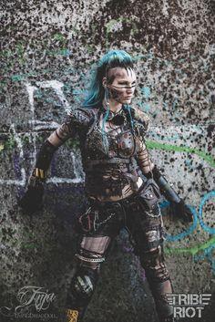 Post Apocalypse TRIBE RIOT LivingDreadDoll #Wasteland #Post #Apocalyptic #apocalypse #Tribal #Warrior #raider #warriors #wanderer #Mad #Max #female #girl #gear #spikes #skull #rust #chain #armor #Anja #Livingdreaddoll #fashion #dystopian #scifi #larp #twd #Tribe #Riot #blue #mohawk- more http://livingdreaddoll.tumblr.com and http://www.facebook.com/TribeRiot