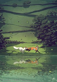 "Fox and hound ""Serenity"" illustration by Lhuin on Deviantart Animal Drawings, Art Drawings, Fuchs Tattoo, Fox Illustration, Fox Art, Anime Animals, Pretty Art, Spirit Animal, Art Inspo"