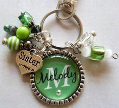 Personalized Bottle Cap Keychain, green and white, childrens name, grandma, nana, mom, gift, present, sister, aunt, christmas via Etsy