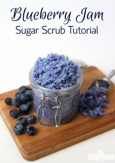 This Blueberry Jam Scrub Recipe contains skin loving fractionated coconut oil and gentle jojoba beads for exfoliation.