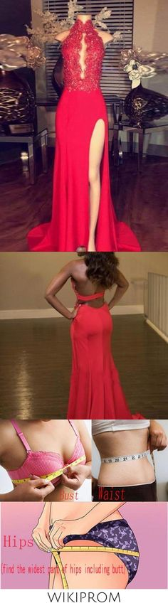 Red chiffon lace halter long slit dress evening dress for prom WK158, This dress could be custom made, there are no extra cost to do custom size and color
