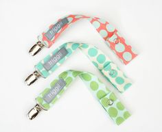Designer Pacifier Clip Trio- SunSpots. $17.50, via Etsy.