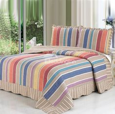 Gorgeous Rainbow-like Stripe Pattern Full Cotton Bed in a Bag Strip Quilts, Easy Quilts, Colchas Quilting, Designer Bed Sheets, King Size Quilt, Indoor Outdoor Furniture, Bed In A Bag, Discount Bedding, Cotton Bedding