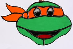 Ninja Turtle Stained Glass Suncatcher  by AwesomeSauceDesigns, $85.00