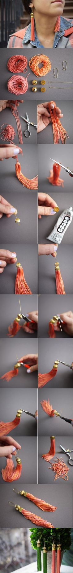 I like the bead cap on the top of the tassel. This would be great added to a simple christmas decoration.: