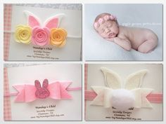Bunny Ears Headband Easter Baby Headband by MyMondaysChild
