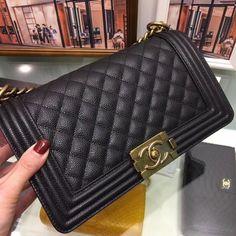 Best Authentic Quality Chanel Caviar Boy Bag With Gold Hardware Medium Size Chanel Le Boy, Chanel Caviar, Brand Packaging, Medium Bags, Gold Hardware, Dust Bag, Louis Vuitton, Shoulder Bag, Handbags