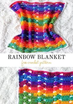 Crochet this Rainbow Cluster Blanket with this absolutely FREE pattern from Rescued Paw Designs. Click to make now or Pin and Save for Later!