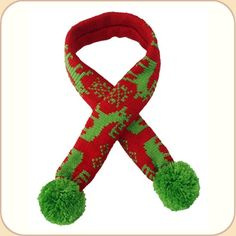 BEOWOOF Provisions for Pets - Red Pompom Scarf, Christmas Dog, Dog Supplies, Dog Accessories, Dog Holidays, Red Green, Fur Babies, Moose, Dog Things