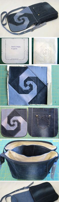 Bag of Old Jeans. Photo Sewing Tutorial.  http://www.handmadiya.com/2016/03/bag-of-old-jeans-tutorial.html                                                                                                                                                      More                                                                                                                                                                                 More