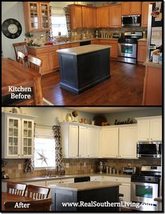 {painting kitchen cabinets}... Zinsser Primer (especially going from dark to white cabinets}... Benjamin Moore cabinet coat paint
