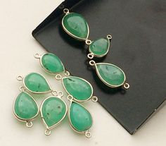 Chrysoprase Connectors 9 pcs Green Chrysoprase by gemsforjewels