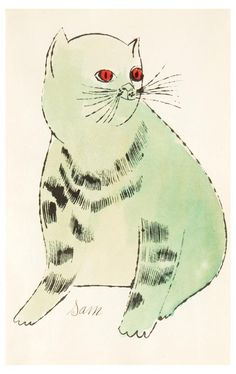 """Andy Warhol - """"Sam"""" from cats named Sam, and one blue pussy"""" - offset lithograph with extensive hand-coloring in watercolour, 1954 Modern Pop Art, Andy Warhol, Elementary Art, Illustration Art, Cat Illustrations, American Artists, Cat Art, Oeuvre D'art, Les Oeuvres"""