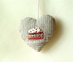 BE MY CAKE Textile Heart Embroidered Beaded by BozenaWojtaszek