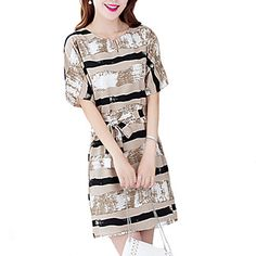 Women's+Casual/Daily+/+Plus+Size+Vintage+/+Street+chic+Shift+Dress,Striped+V+Neck+Above+Knee+Short+Sleeve+Beige+/+YellowLinen+/+Rayon+/+–+USD+$+8.99