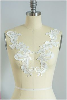 2 Pc. mirrored bridal flower applique with thin SILVER thread, Flower appliqué, Lace Flower, wedding dress patch, lace patch - (CLA2062)