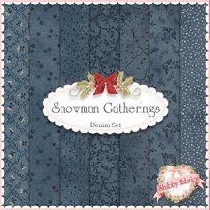 """Snowman Gatherings  Denim 7 FQ Set By Primitive Gatherings For Moda Fabrics: Snowman Gatherings is a collection by Primitive Gatherings for Moda Fabrics.  100% cotton.  This set contains 7 fat quarters, each measuring approximately 18"""" x 21""""."""
