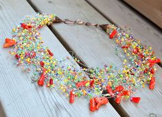 Colorful Necklace Beaded Seed Bead Jewelry by LikeinaFairyTale, $42.00
