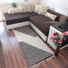 Handwoven wool rug, area rug, floor rug, kilim rug, home decor rug -  black and white rug