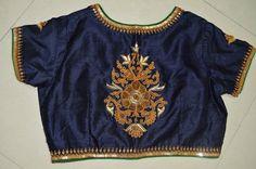 Royal navy blue designer blouse with Gujrati marodi by Sravams, $90.00