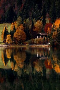 SEASONAL – AUTUMN – fall leaves in brilliant colors decorate the landscape of the lake house in tirol, italy, photo via sissi. Beautiful World, Beautiful Places, Lifestyle Fotografie, Cabins In The Woods, Belle Photo, Pretty Pictures, Amazing Photos, Beautiful Landscapes, The Great Outdoors