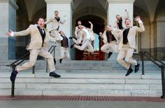 Citizen Hotel Wedding Venue with groom and groomsmen jumping by Ponce's Portraits and flowers by Ambiance Floral Design. Sacramento Wedding and Engagement Photographer, Sacramento wedding venue, Ponce's portraits, wedding ideas. Wedding photo ideas, Sacramento weddings