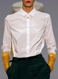 Paul Smith - the pop of yellow on the white blouse cuffs is terrific
