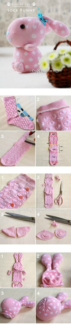 Sock Bunny Craft Tutorial cute kawaii easter rabbit plushie toy pattern tutorial from socks lovely gift Kids Crafts, Sock Crafts, Bunny Crafts, Cute Crafts, Easter Crafts, Fabric Crafts, Sewing Crafts, Sewing Projects, Sewing Ideas