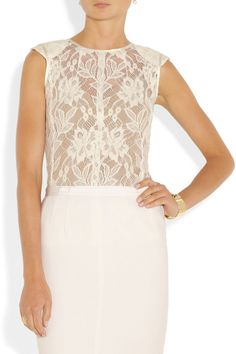 Nina Ricci|Embroidered wool-blend lace top|NET-A-PORTER.COM