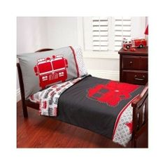 Fire Truck Bed Set 4 Piece Toddler Slumber Kids Engine Boys Bunk Room Furniture