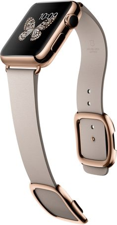 "Apple Watch Edition in 38-MM18k rose gold and rose grey modern buckle 38-MM - release early 2015. ""The Edition collection features six uniquely elegant expressions of Apple Watch. Each has a watch case crafted from 18-carat gold that our metallurgists developed to be up to twice as hard as standard gold. The display is protected by polished sapphire crystal. And an exquisitely designed band provides a striking complement."""