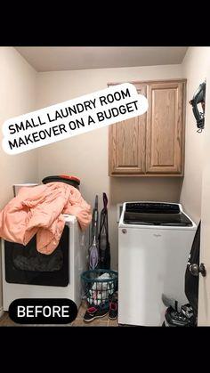 Small Laundry Rooms, Laundry Room Organization, Laundry Room Design, Small Bathroom, Bathroom Ideas, Budget Bathroom, Organized Laundry Rooms, Laundry Room Shelving, Bathroom Decor Ideas On A Budget