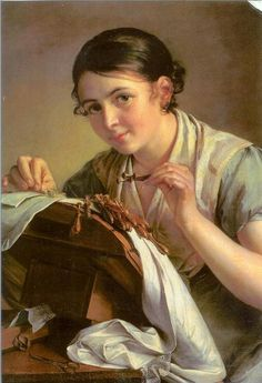The Lacemaker (1823) ~ by Vasili Tropinin (Russian artist, 1776-1857)